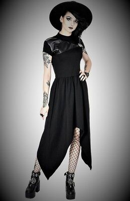 Restyle Luxury Black Short Sleeve Party Asymmetric Dress for Gothic & Punk Women - Short Black Dress For Halloween