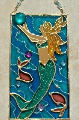Mermaid Suncatcher Stain Glass Art Wall Art Decor Window Hanging Panel Ornament ()