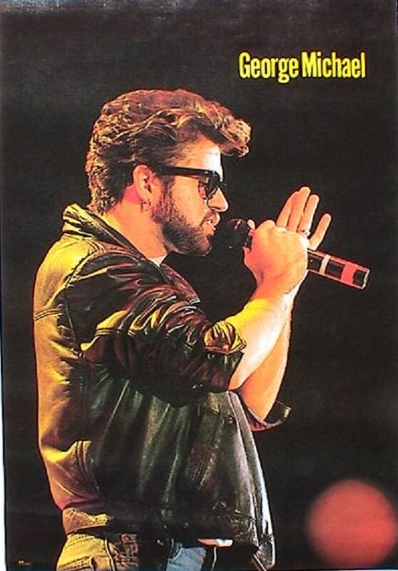 "GEORGE MICHAEL ""CONCERT SHOT, HOLDING MICROPHONE"" POSTER FROM ASIA - Pop Legend"