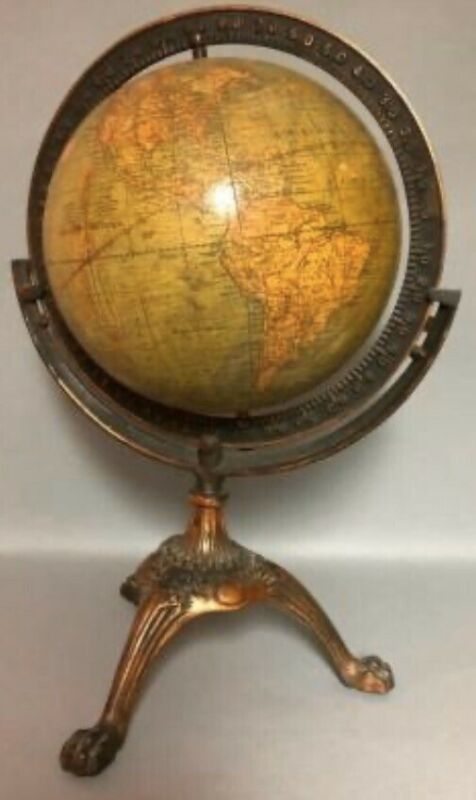 "ANTIQUE TERRESTRIAL 8"" GLOBE WEBER COSTELLO CO CHICAGO ILLINOIS USA DATED 1910"