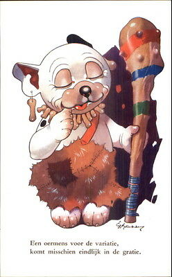 GE Studdy Bonzo Dog Series Caveman or Native w/ Club Postcard
