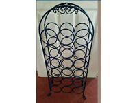 Cobalt blue metal 18 bottle free standing wine rack