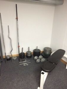 Weights, plates, bench, bars