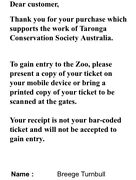 Zoo tickets  Paddington Eastern Suburbs Preview
