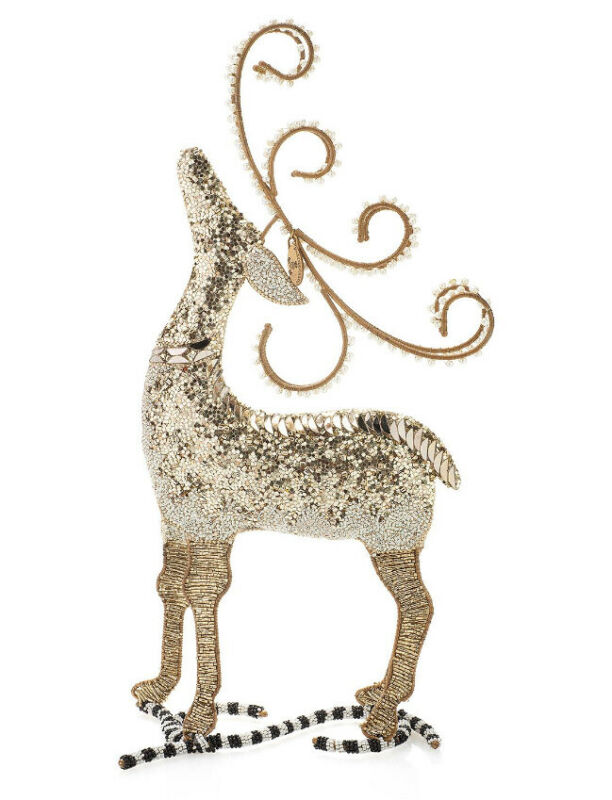 Mackenzie Childs SILVER LINING DEER Courtly Check/Stripe NEW NWOB $88 m19-n