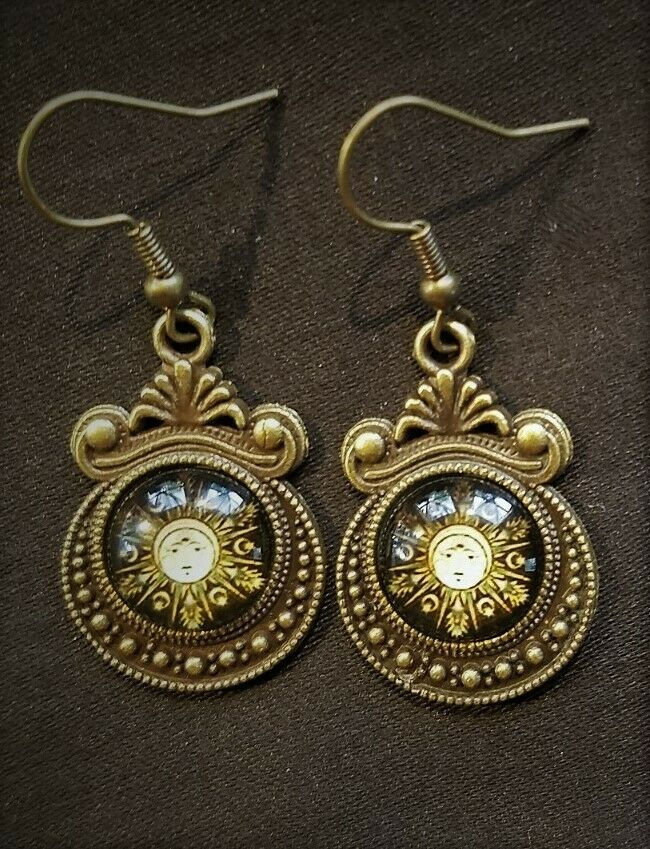 Moon Goddess Moon Phases Cameo Cabochon Bronze CLIP ON Earrings Steampunk Tribal - $12.79