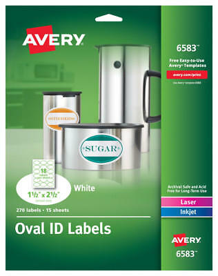 Avery Oval Easy Peel Labels 1 12 X 2 12 Matte White 270pack 6583