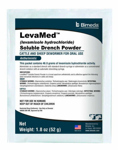 Levamed Levamisole Soluble powder 52GM Drench Cattle Calves Sheep Lamb