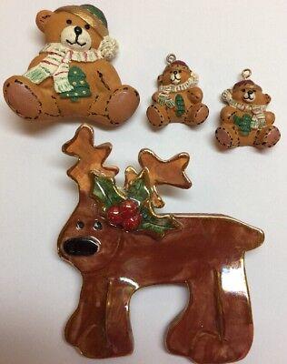 Lot of 3 Cute Christmas Jewelry Pins, earrings, Porcelain Reindeer, Bear & Cubs