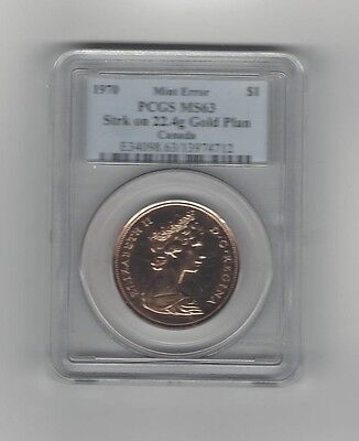 Click now to see the BUY IT NOW Price! 1970,PCGS GRADED CANADIAN MINT ERROR GOLD DOLLAR MS 63LY