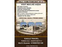 Flight Tickets Visit UK to Tel Aviv/Jerusalem (Al Aqsa tour February 2019)
