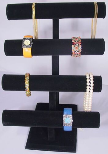 "17""H SUPER DUTY BLACK JEWELRY DISPLAY 4 TIER T BAR BRACELET BANGLE WATCH PJ62B1"