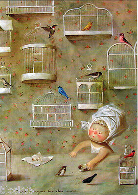 Modern postcard GIRL LETS BIRDS OUT OF CAGES Russ / Engl captions publ.Ukraine for sale  North York