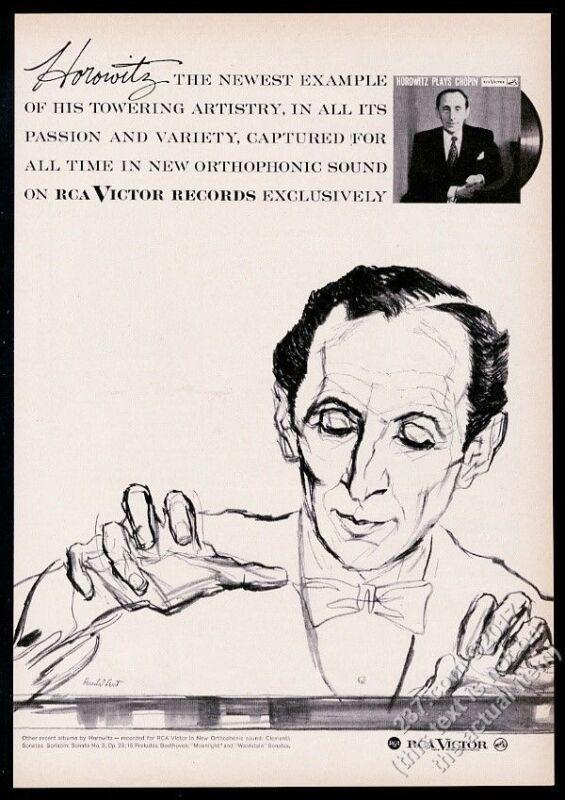 1958 Vladimir Horowitz portrait by Herschel Levit RCA Victor Records print ad