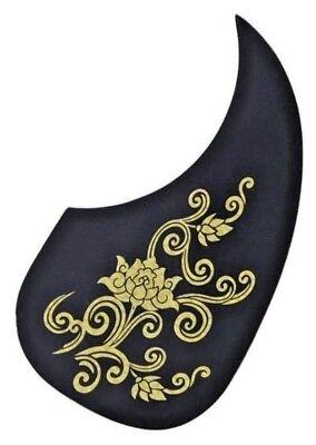 Martin-Style Acoustic Guitar Pick Guard Scratch Plate. Black w/Flower Patterns