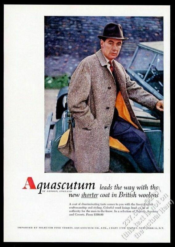 1958 Land Rover color photo Aquascutum tweed coat vintage print ad