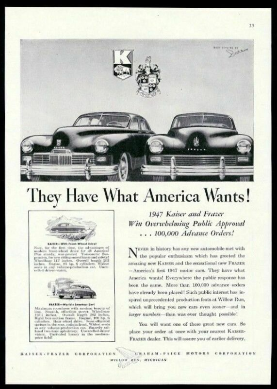 1947 Kaiser Frazer car They Have What America Wants vintage print ad