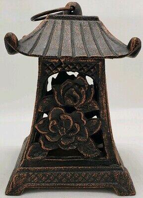 Vintage Cast Iron Japanese Pagoda Oriental Hanging Garden Lantern Candle Holder