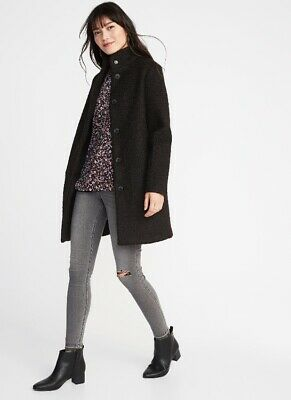 Old Navy Petite Small Women's Mock Neck Boucle Coat * SOLD OUT * HARD TO FIND * Bouclé Coat Petite