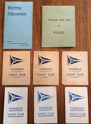 Vintage Thurrock Yacht Club Membership Cards 1959-65, Rule Book (1962) & More