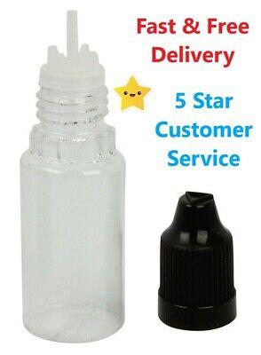 10ML Empty Plastic Squeezable Bottles Vape Oil TPD Tips + Caps **UK STOCK**