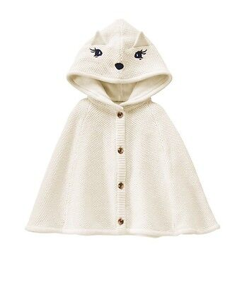 Gymboree Fox Cape Poncho Girls Clothes Sweater size 6m 12m 18m 24m 2T 3T 4T 5T