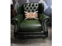 Stunning Chesterfield Thomas Lloyd Wing Back Chair Green Leather - Uk Delivery