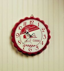 Retro Diner Style Red Mom's Kitchen Bottle Cap Wall Clock FREE SHIPPING