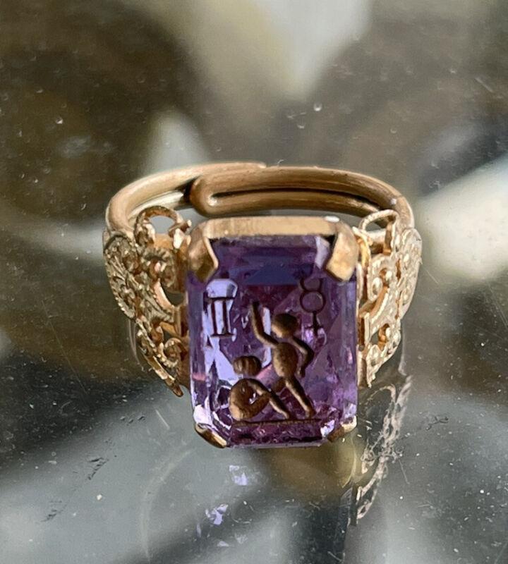 Estate Amethyst Paste Rose of Sharon Intaglio Gold Filled  Ring