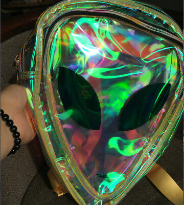 Clear Alien Backpack (Hot!Designer Transparent Backpack Women Clear Bag PVC Bag With Aliens Smile)
