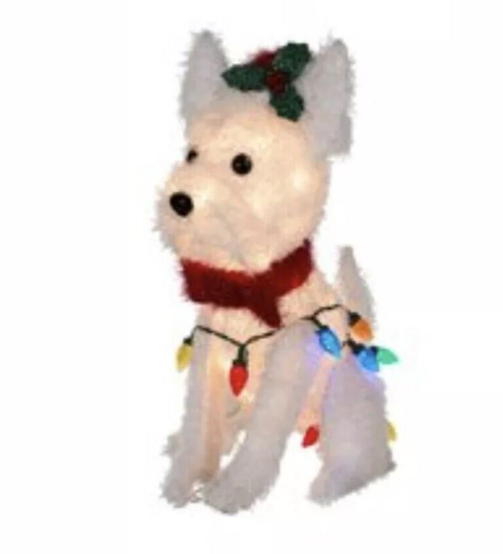 Christmas Light-Up Fluffy White Terrier In/Outdoor Home Holiday Dog Decoration