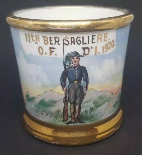 ITALIAN Army Soldier 11th BERSAGLIERE - WWI Era  Occupational Shaving Mug 1920
