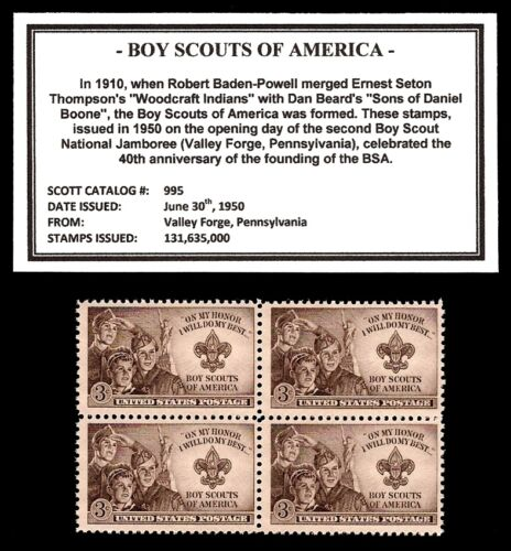 1950- BOY SCOUTS OF AMERICA (BSA) -  Block of four Vintage U.S. Postage Stamps