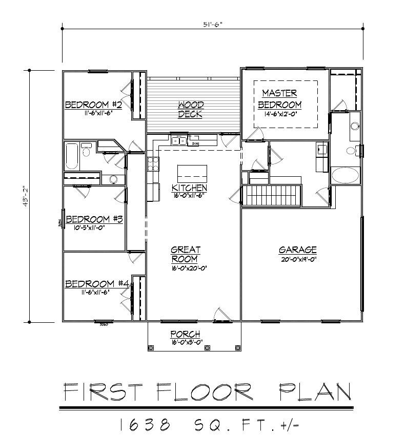 1638sf ranch house plan w garage on basement Ranch basement floor plans