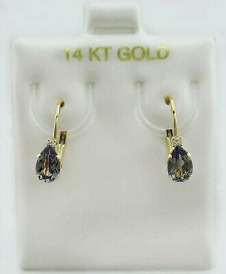 ALEXANDRITE 1.26 Cts & GENUINE DIAMONDS DANGLING EARRINGS 14K GOLD* New With Tag