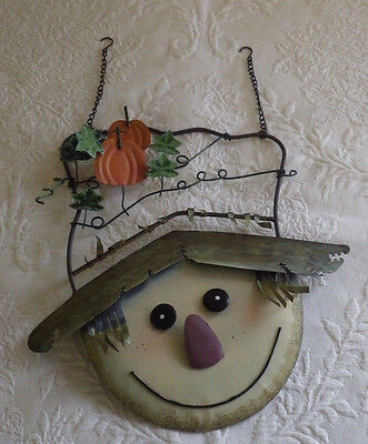 "Metal Scarecrow Face Fall Thanksgiving Home Wall Decor Pumpkins 12"" X 11"""