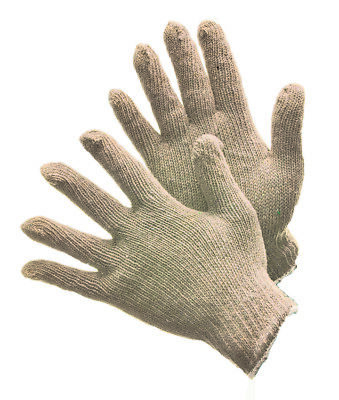 5 Pairs String Knit Gloves Cotton Polyester Blend Natural White- Large