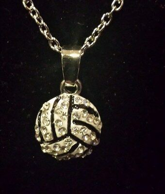 New Volleyball Rhinestone 1/2 inch Charm Necklace](Volleyball Charm)