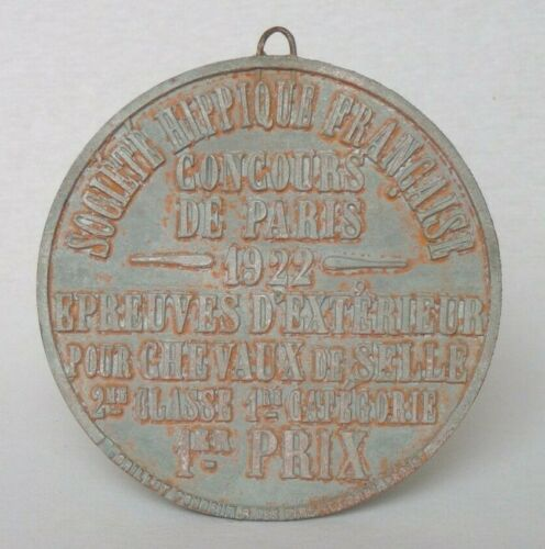 Vintage French Round Cast Iron Saddle Horse Competition Award Plaque Dated 1922