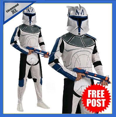Mens Star Wars Captain Rex Clone Trooper Costume Deluxe Adult Book Week + Helmet (Captain Rex Costume)