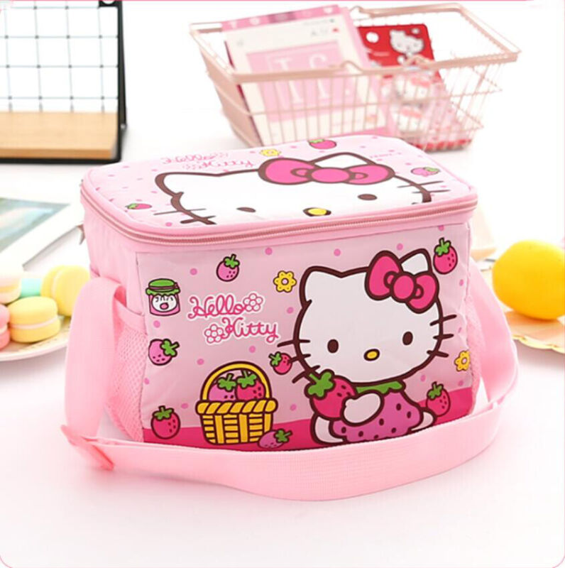 Cute Hello Kitty Strawberry Lunch Bag Bento Box Handbag Insulation Crossbody