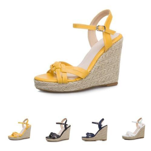Damenschuhe High Heels Pumps Fesselriemen Keilabsatz Fashion Sommer Neu Gr.34-43