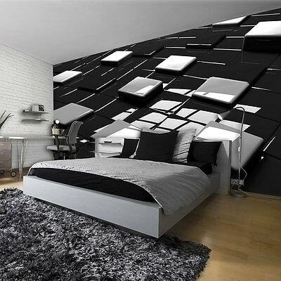 Schwarzes Quadrat Post (POSTER  TAPETE  TAPETEN FOTOTAPETE WANDBILD SCHWARZ  QUADRATE MUSTER 3D  2579 P4)