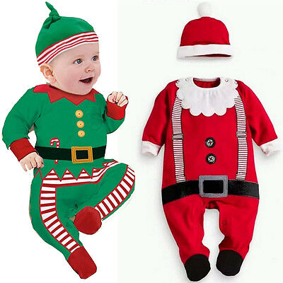 US Baby Girl Boy Santa Claus Costume Xmas Hat+Romper Jumpsuit Clothes Outfit Set