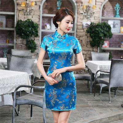 Traditional Chinese Women Silk Satin Mini Dress Cheongsam Qipao Blue S-6XL Chinese Silk Cheongsam Dress