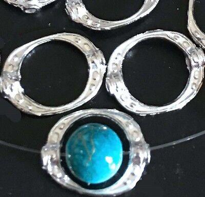 25 Silver Platete Pewter Donut Frame Gun Metal Beads 15x10mm