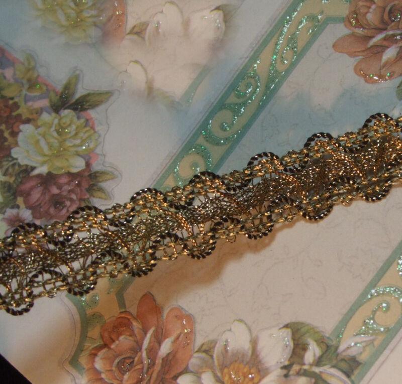 "Antique vtg gold metallic trim braid lace tape ruching ruffle ribbon work 3/4"""