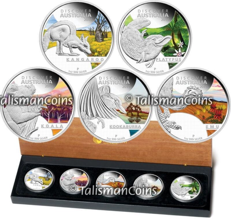 2013 Discover Australian Wildlife Complete 5 Coin $1 Pure Silver Color Proof Set