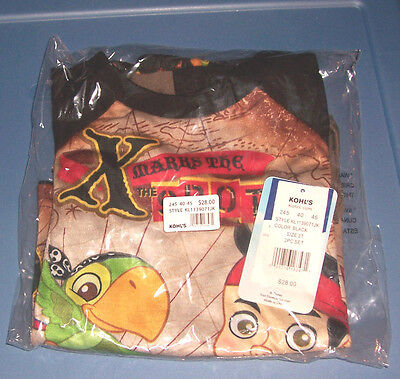 Jake and the Neverland Pirates Disney Kids Boys Long Pajamas Toddler Size 3T $28