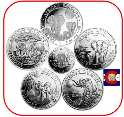 2013, 2014, 2015, 2016, & 2017 Parade of Somalia (Somali) Elephants Silver Coins